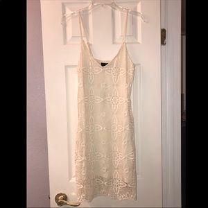 NWT ivory lace/knot overly mini dress